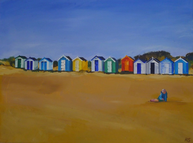 Girl and Beach Huts - Image 0