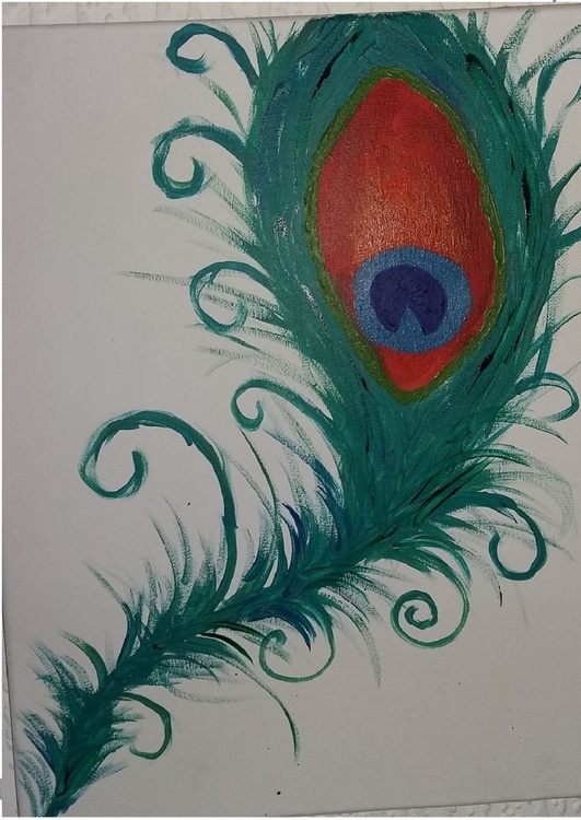 Curly Peacock Feather 30 x 40 cm acrylic on canvas - Image 0