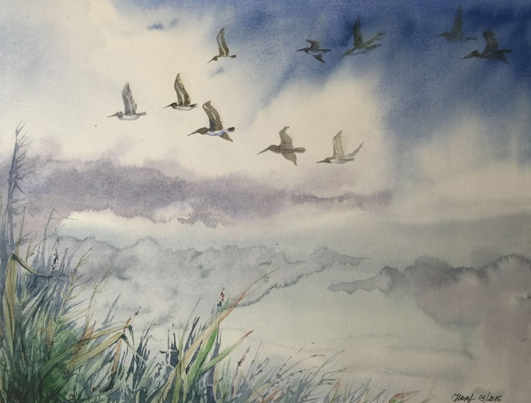 Birds flying in cloudy sky - Image 0