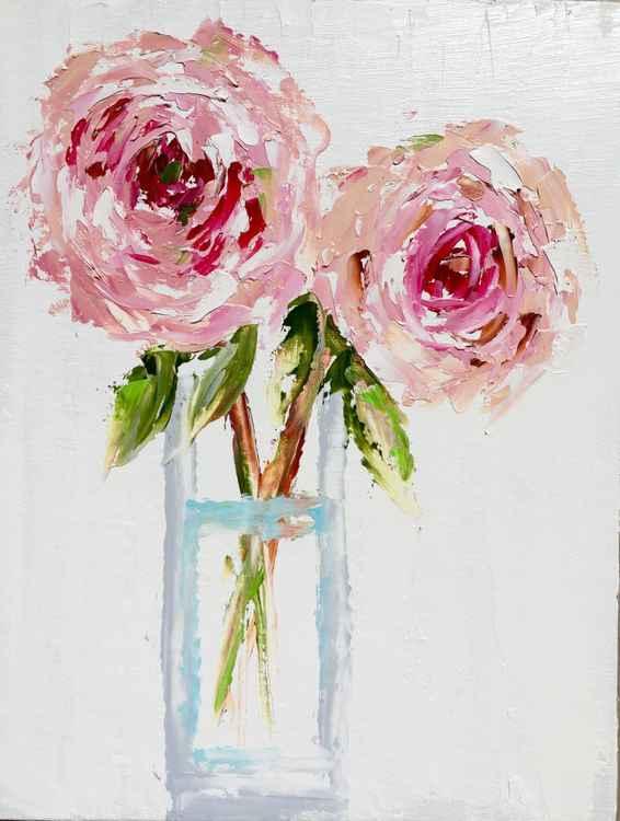 "Vase of Peonies  14""x11"" -"