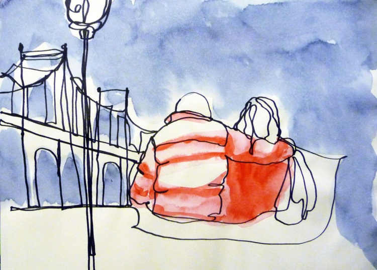 1 Line - Couple in a winter day in New York - Image 0