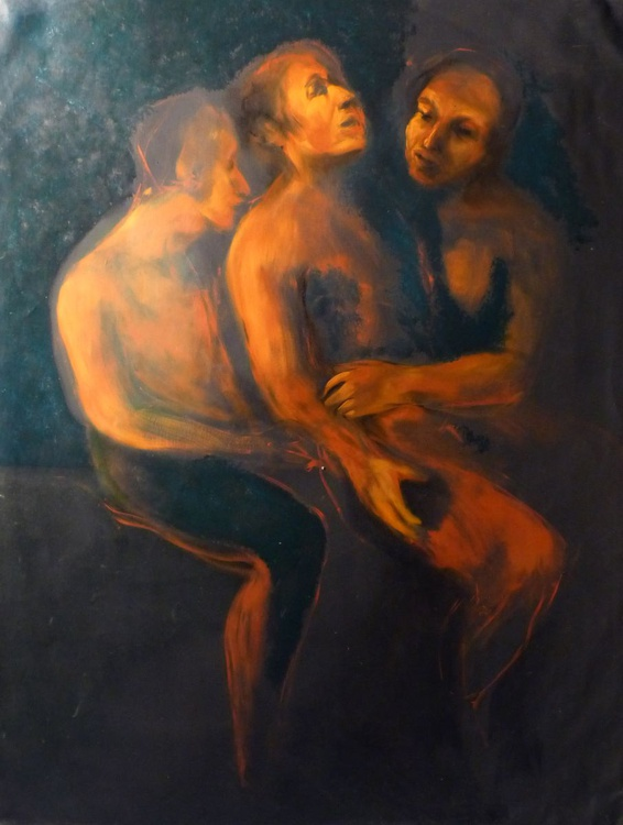 Descent from the cross, tribute to Rubens, oil on canvas 116x89 cm - Image 0
