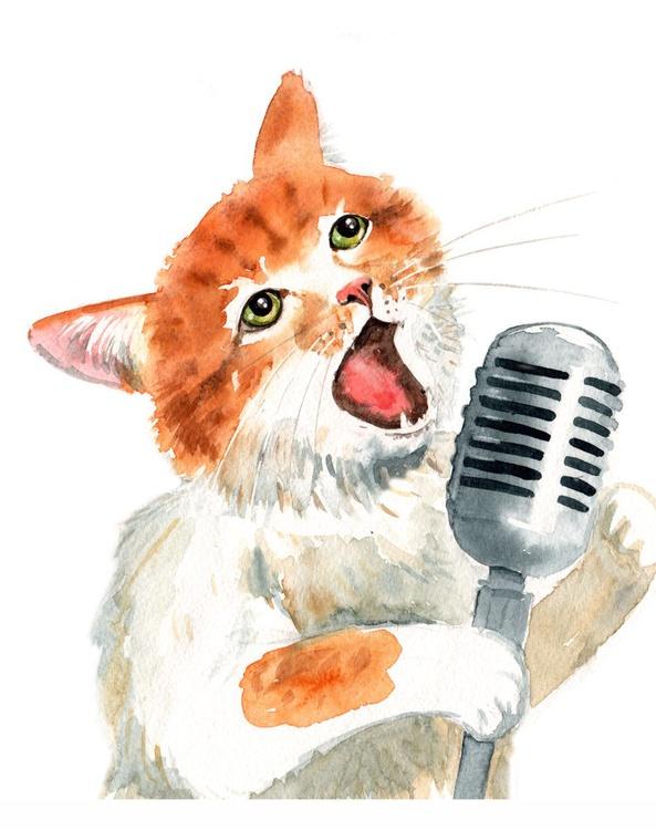 Jazzcat. Singing Cat. - Image 0