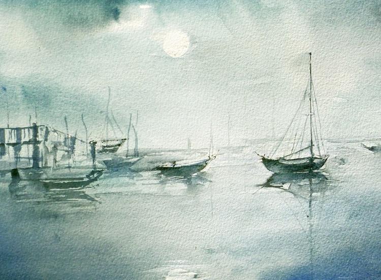 Harbor in Moonlight - Image 0