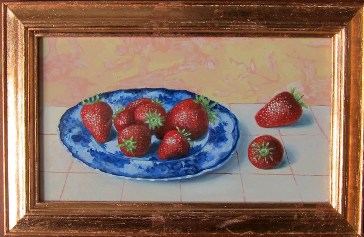 Strawberries and blue china - Image 0
