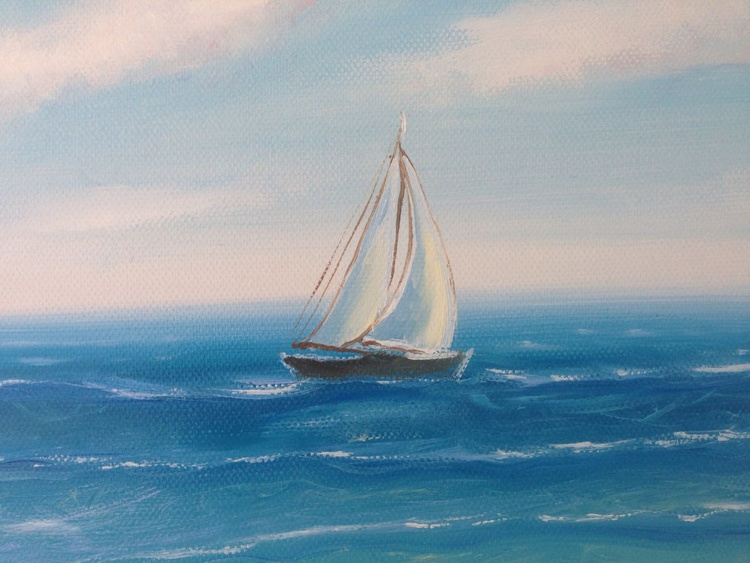 "The Sailboat and the Sea III 10x8"" - Image 0"