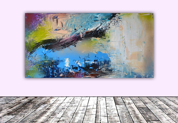 Jazz Wave - Large Modern Ready to Hang Abstract Painting, Office Wall Decoration - Image 0