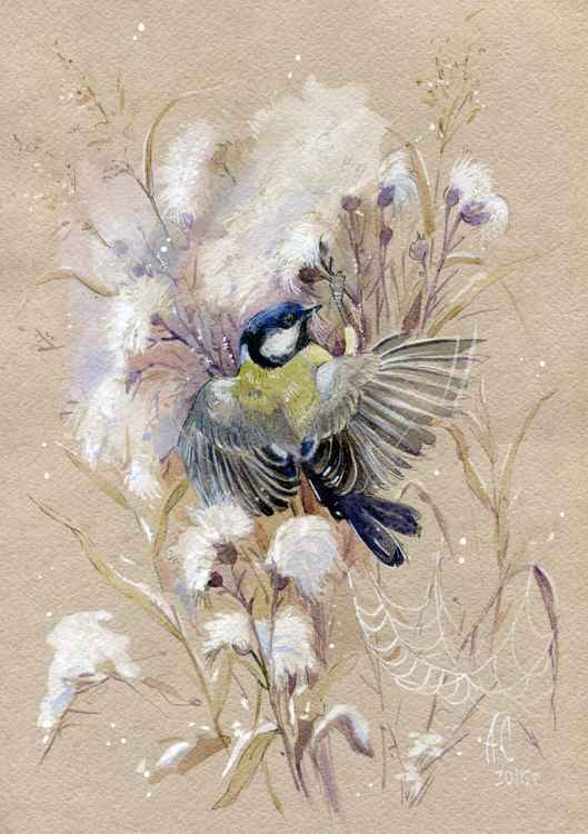 ORIGINAL WATERCOLOR  Tit on a thistle 2 -