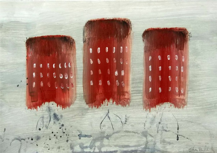 red houses - oil on paper - Image 0