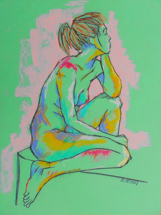 Female Nude Original Charcoal Pastel Figure Study Seated Female Model Life Drawing Gesture - Image 0