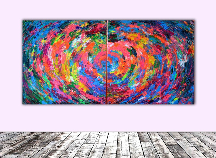 Gypsy Skirt Rounded - 200x100 cm - XXXL Large Modern Abstract Big Painting - Ready to Hang, Office, Hotel and Restaurant Wall Decoration - Image 0
