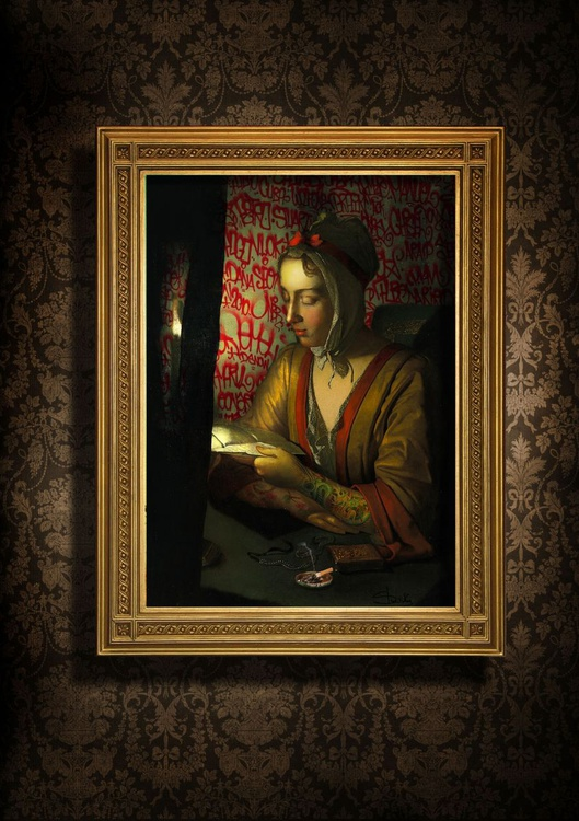 Anna Romana Wright reading by candlelight - Image 0