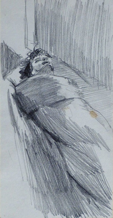 Woman in Bed, 11x21 cm - Image 0