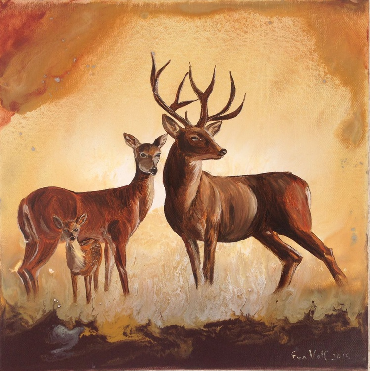 "Deer Family 16x16"" - Image 0"
