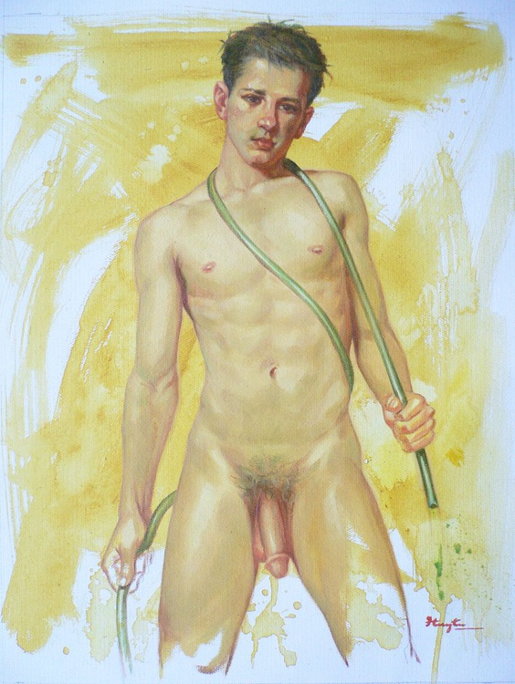 ORIGINAL OIL PAINTING BODY ART NAKED MAN BOY ON LINEN#16-8-4 - Image 0