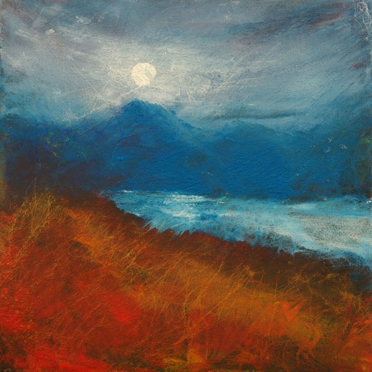 Moonlight over Loch Mullardoch, Scottish landscape painting - Image 0