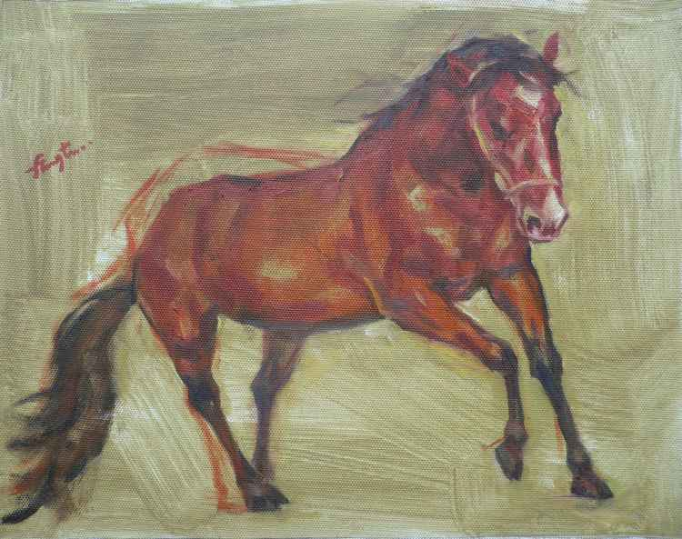 ORIGINAL OIL PAINTING ANIMAL ART RED HORSE ON CANVAS #16-5-13 -