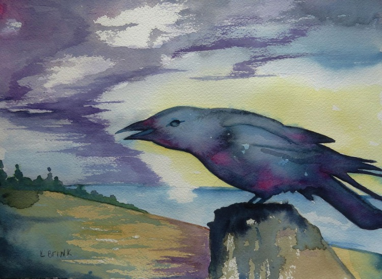 watercolor painting of a crow - Image 0