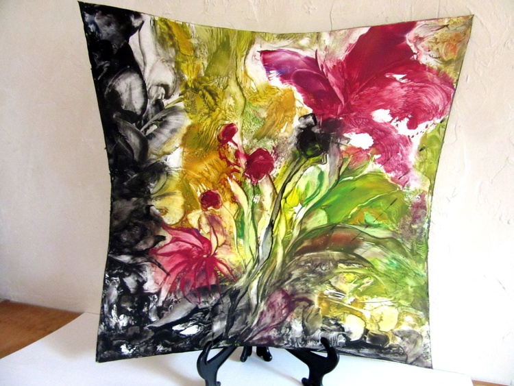 Encaustic Painting Bold Abstract Floral 20x20in Free Form - Image 0