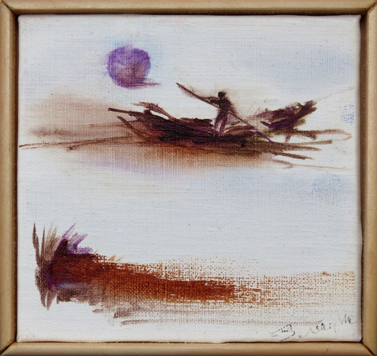 Rowing in sunset, miniature oil painting on canvas 11x11 cm framed and ready to hang - Image 0