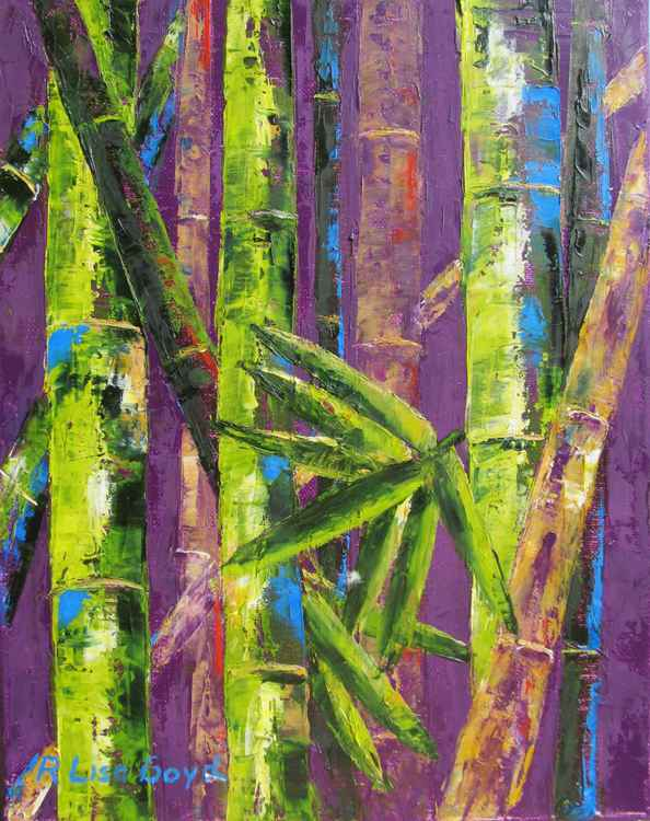 Bamboo Trees by Pallet Knife -