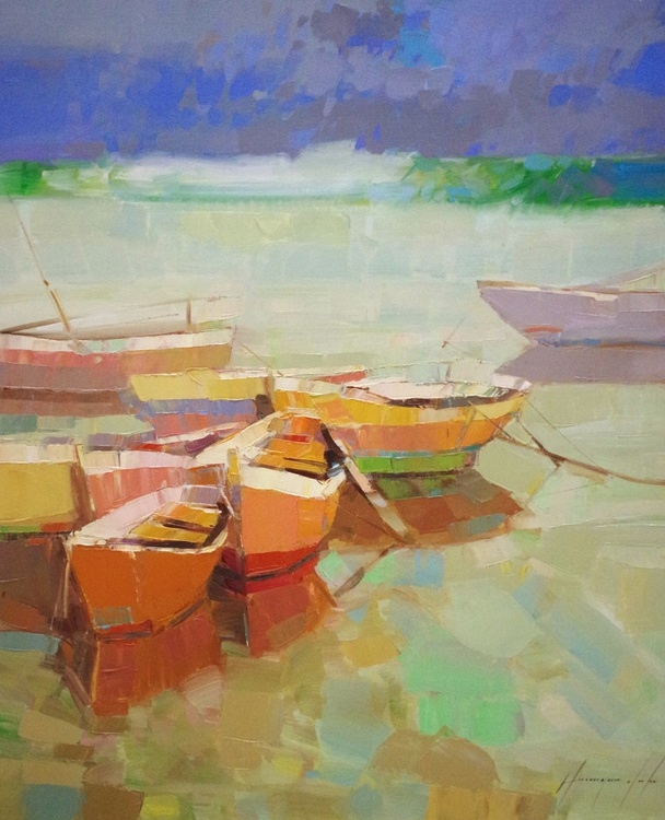 Rowboats, Original oil painting  Handmade artwork One of a kind Signed with Certificate of Authenticity - Image 0