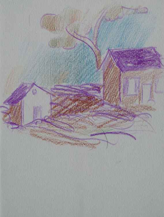 Little Village Sketch, pencil on paper 12x16 cm