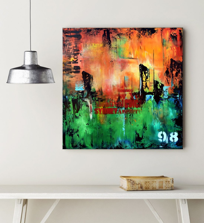 No. 98 - Green and orange abstract urban painting on gallery wrap canvas - Image 0