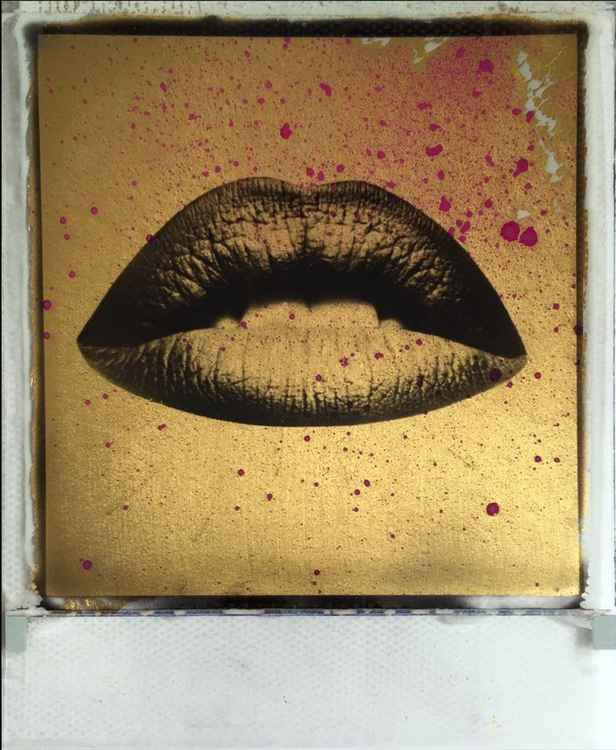 Golden Lips  24ct gold leaf & Spray paint Polaroid collage -