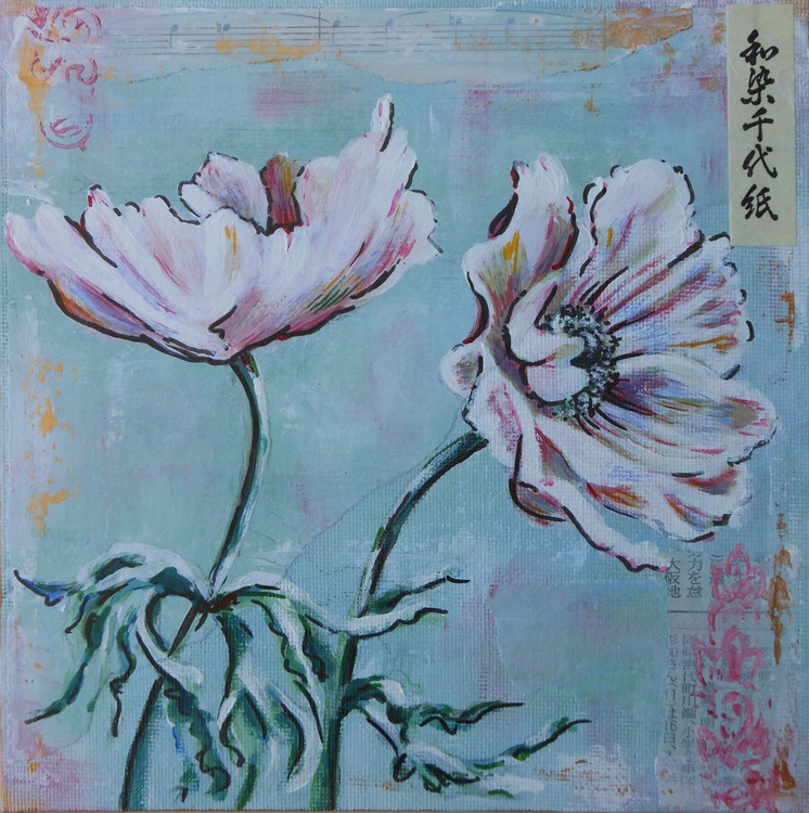 Oriental anemones, pale pink shades. - Image 0