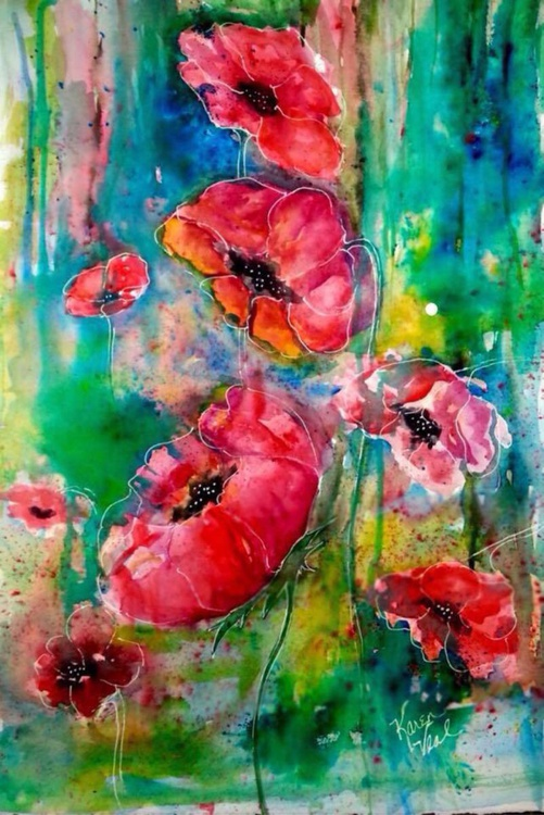 Poppies Watercolor Original - Image 0