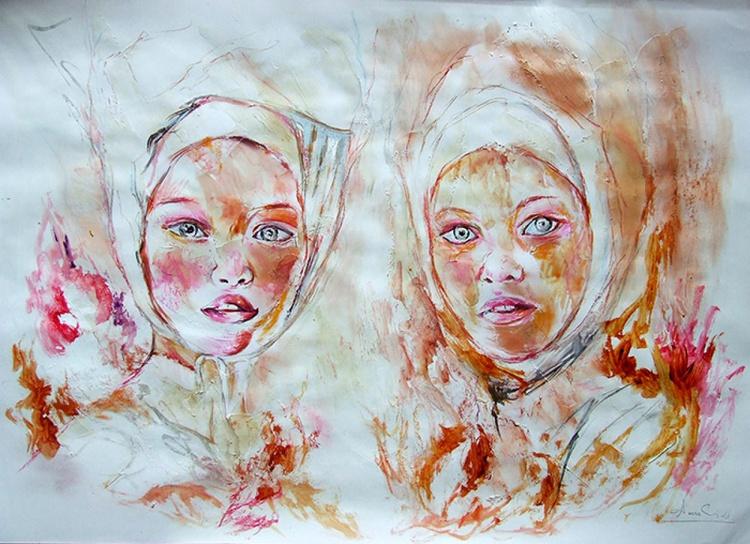Original Watercolour Sisters - Image 0