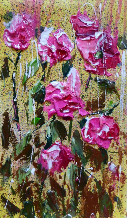 Pink flowers, oil painting 20x35 cm - Image 0