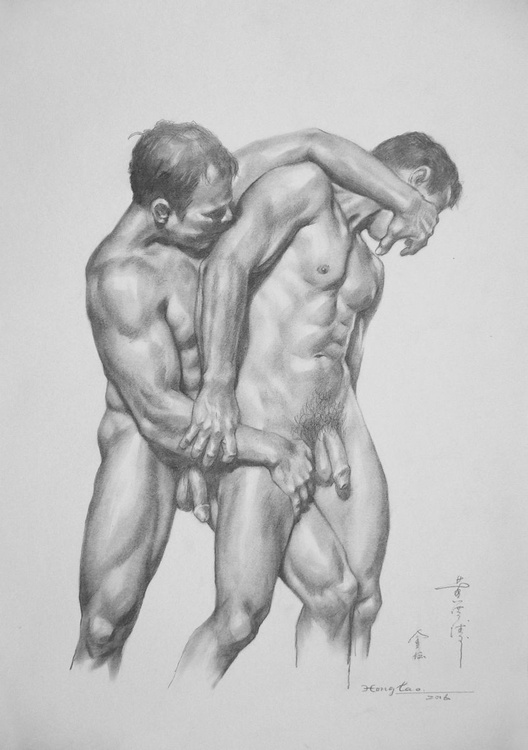 original art drawing charcoal male nude gay men on paper #16-5-19-01 - Image 0
