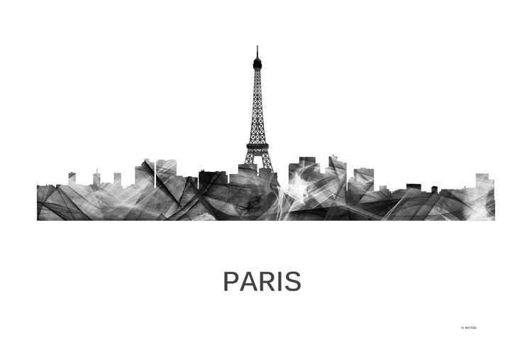 Paris, France Skyline WB BW -
