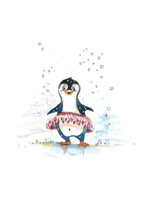 Cute little girl penguin, original drawing - Image 0