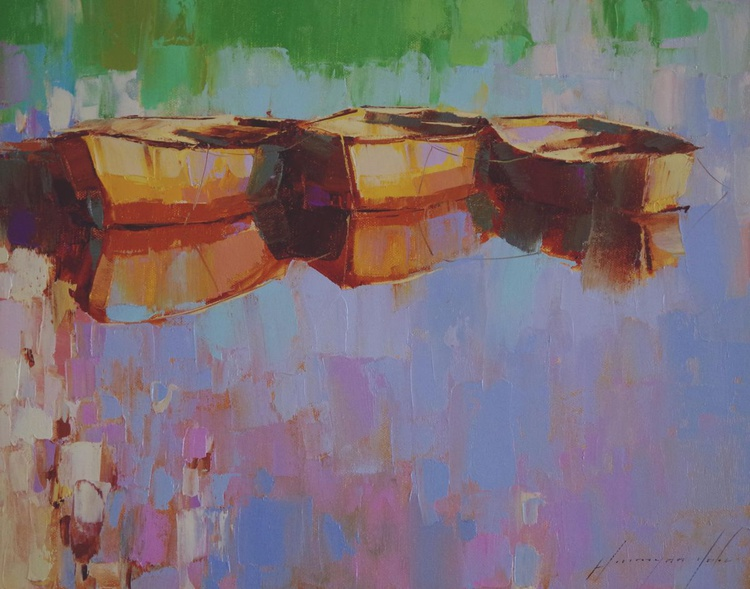 Rowboats  Original oil painting  Handmade artwork One of a kind - Image 0