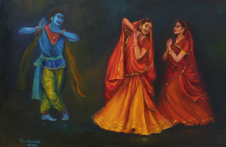 Kathak Dancers-Krishna Appears to Radha and Gopis singing playing his flute (Religious) - Image 0