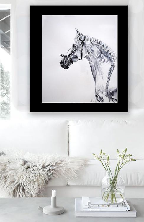 La tresse / Framed Horse Equine Art  Modern Contemporary - Image 0