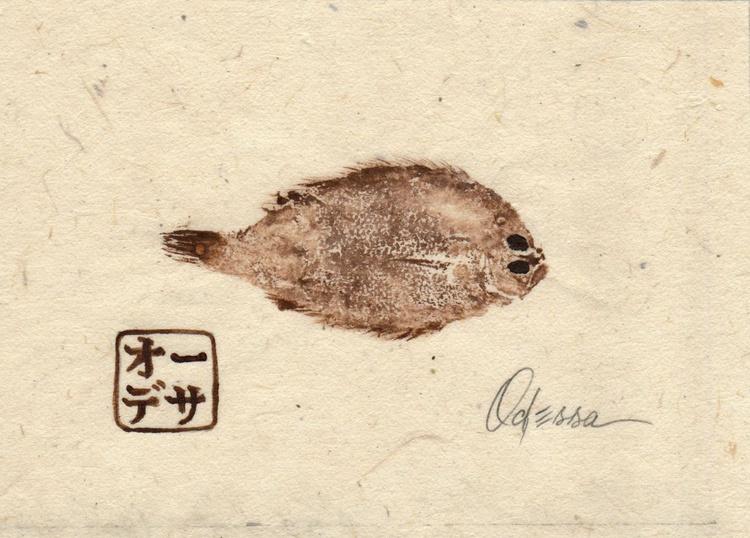 Baby Flounder Gyotaku (Fish Rubbing) #1 - Image 0