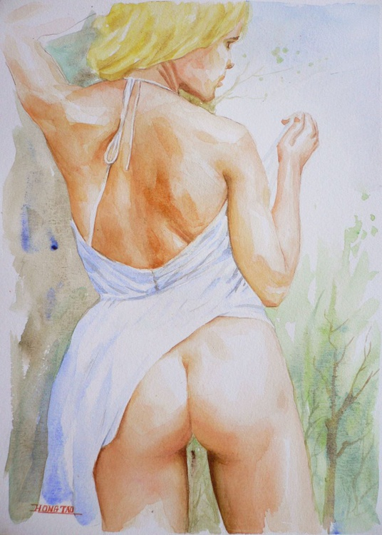 ORIGINAL WATERCOLOUR PAINTING NUDE GIRL SEXY BODY ARTWORK  ON  PAPER#16-6-27 - Image 0