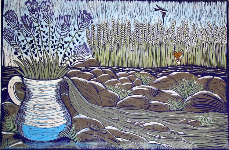 River, reduction linocut - Image 0