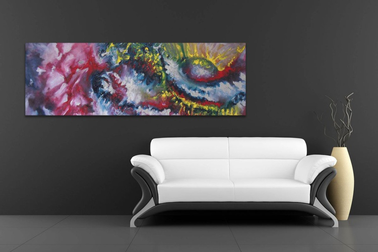 Antique - 120x40 cm,  Original abstract painting, oil on canvas - Image 0