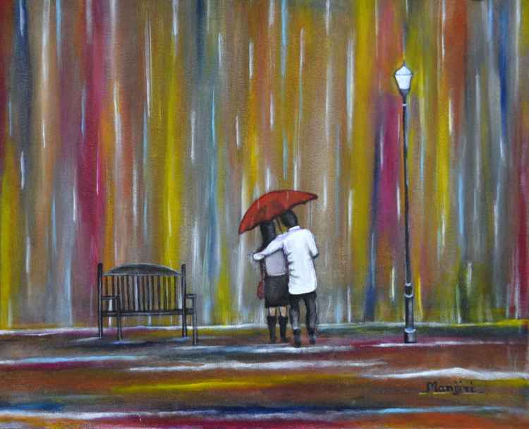 Love in the Rain a romantic painting