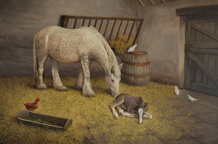 """""""AFTER A HARD DAYS PLAY"""" Photorealistic horse and foal oil painting - Image 0"""
