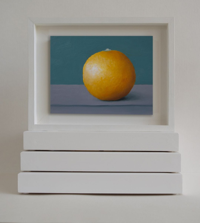 Still life with orange miniature REESERVED Commission Painting for Urbain Bruyere - Image 0