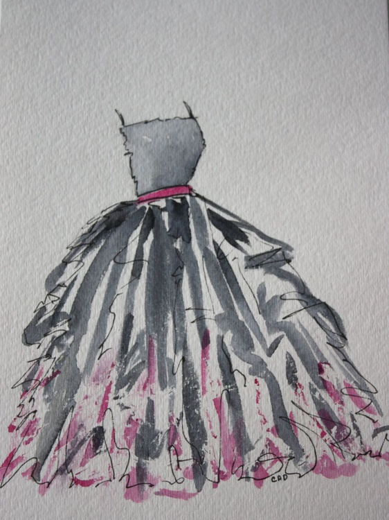 Watercolor Black & Pink Party Dress - Image 0