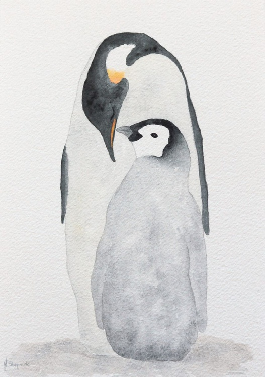 Penguin mother with a chick - Image 0