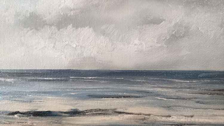 "Rough Sea original oil 7""x5"" -"