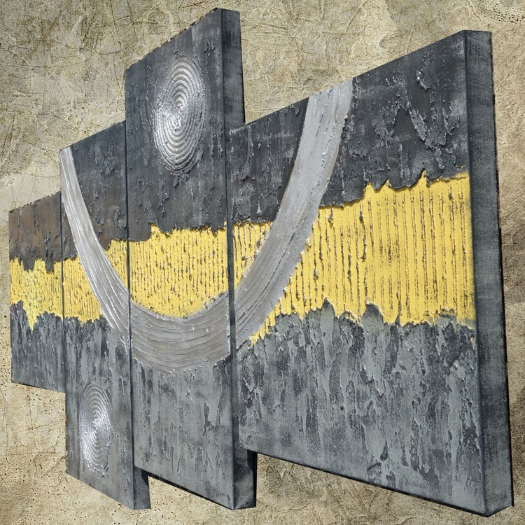 Abstract paintings grey yellow 90x190x4 cm OOAK XXL OFFICE decor original abstract art big ready to hang painting acrylic on stretched canvas metallic textured glossy wall art by artist Ksavera - Image 0